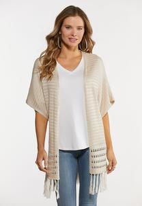 Plus Size Fringed Cardigan Sweater