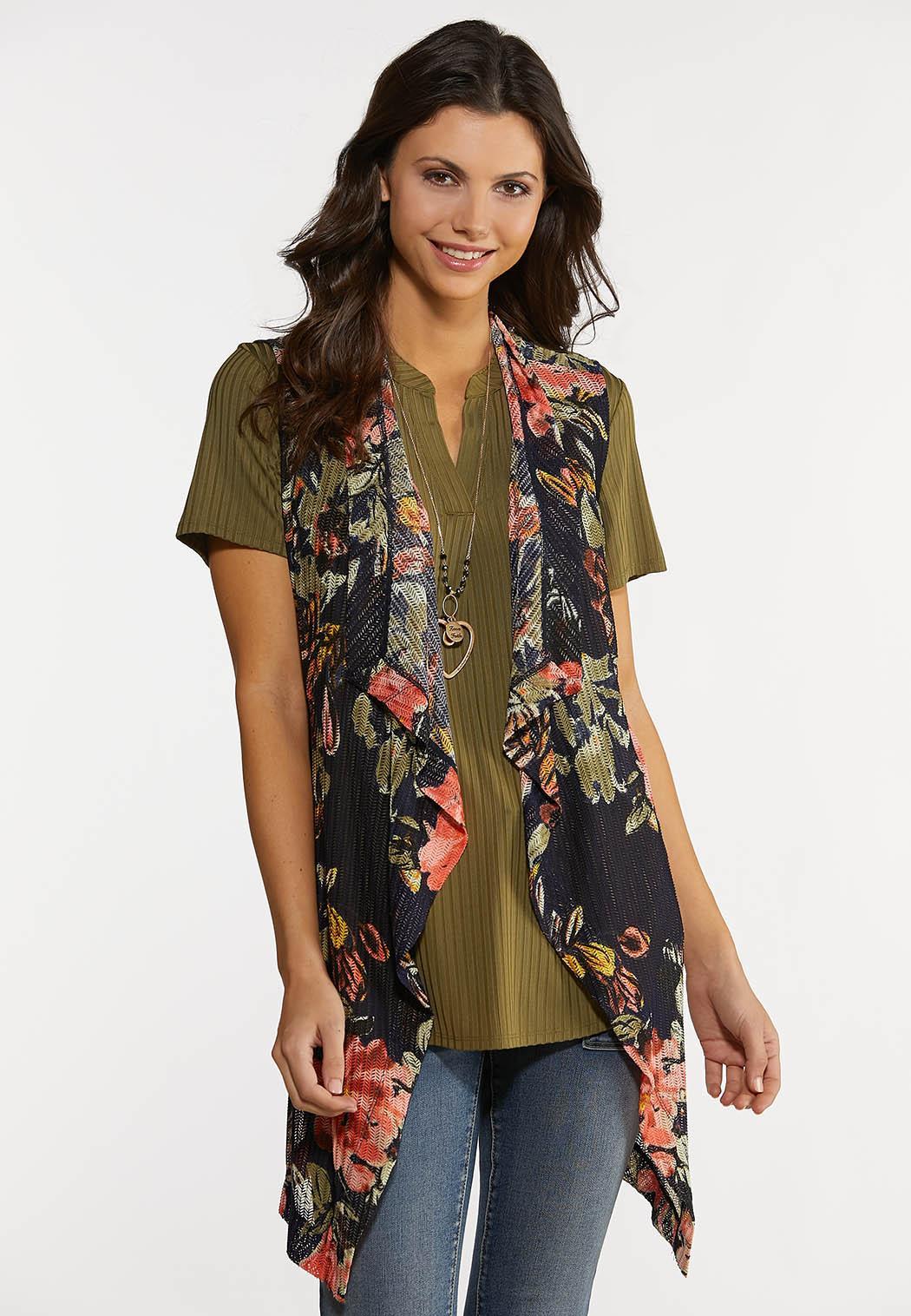 Plus Size Floral Mesh Vest