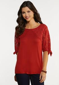 Plus Size Rust Lacey Tie Sleeve Top
