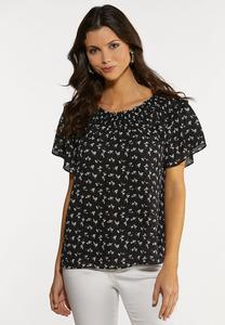 Plus Size Ruffled Dainty Floral Top