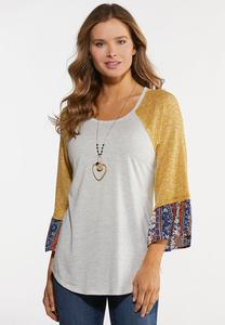 Plus Size Printed Bell Sleeve Top