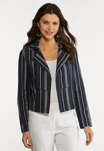 Navy Stripe Linen Jacket