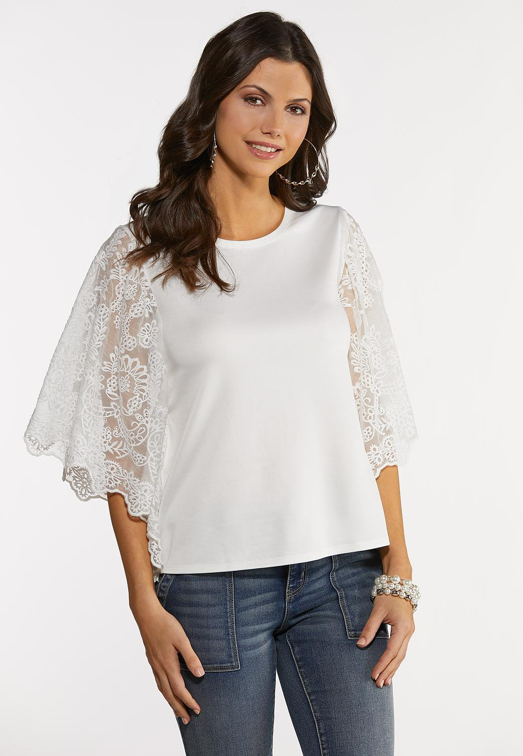 Plus Size Lace Wing Sleeve Top