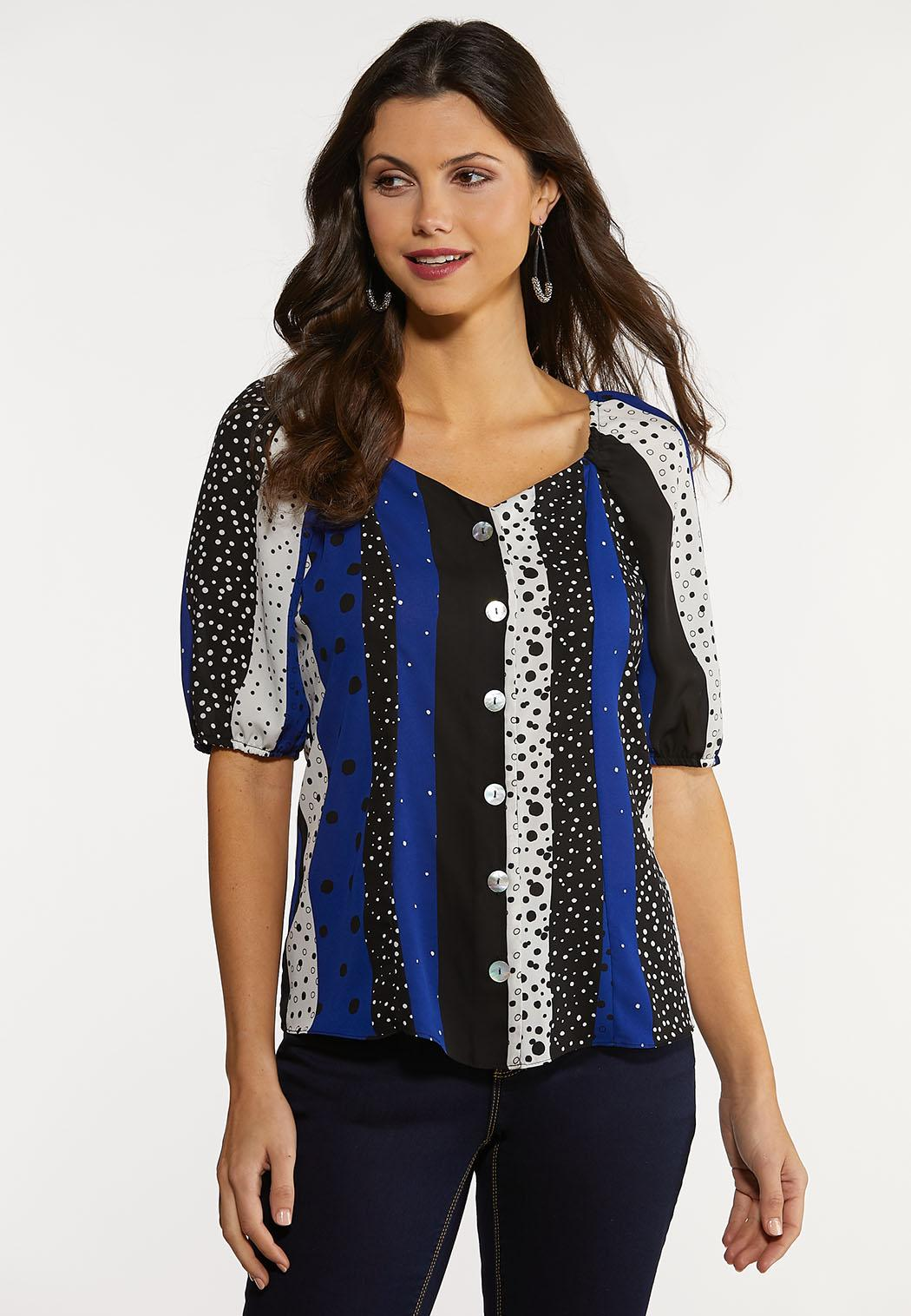 Plus Size Navy Dotted Stripe Top