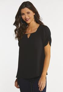 Plus Size Black Ruched Sleeve Top