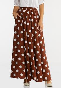 Plus Size Chocolate Dotted Maxi Skirt