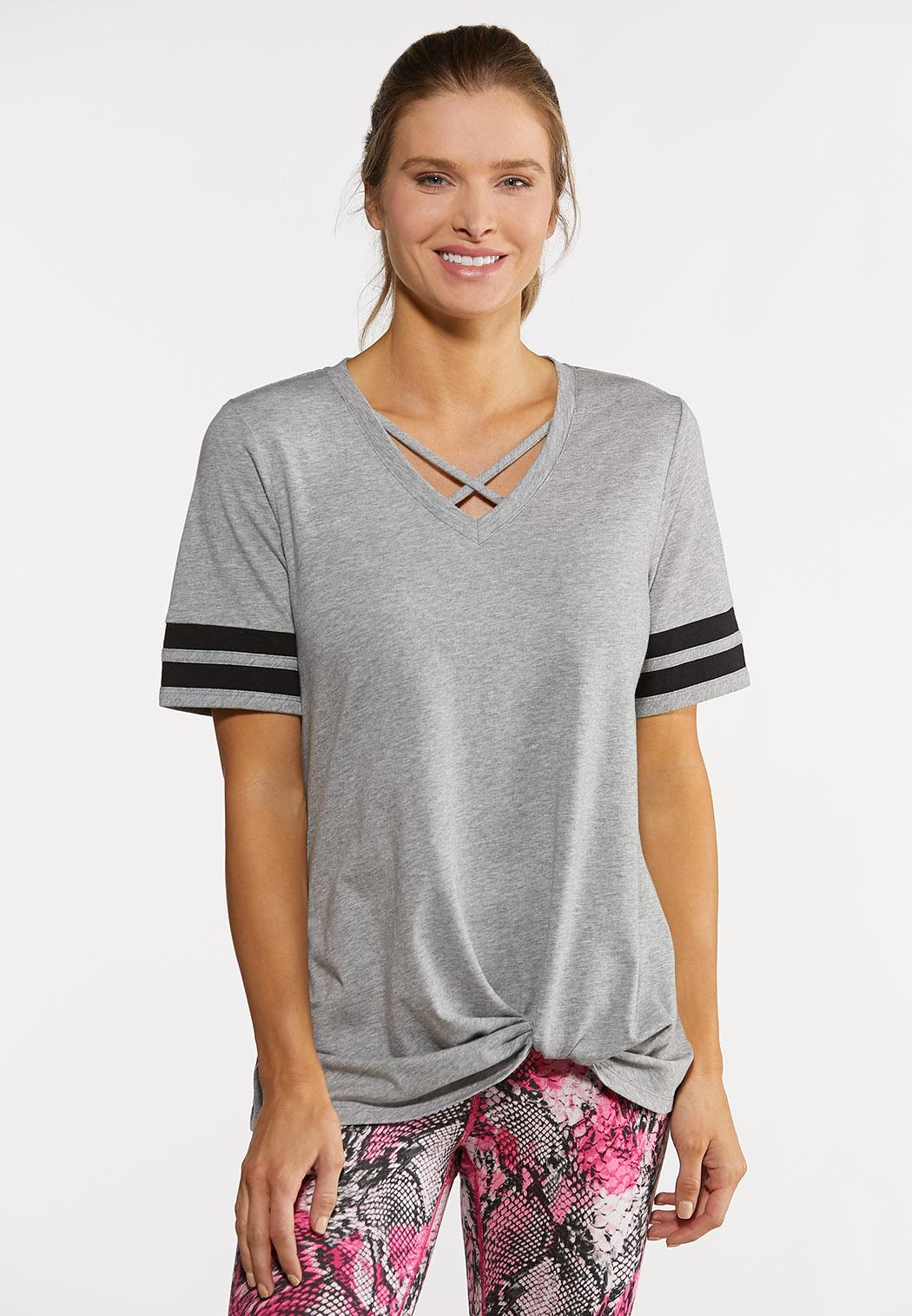Sporty Stripe Knotted Tee