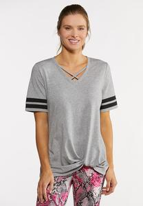 Plus Size Sporty Stripe Knotted Tee