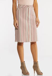 Blushing Stripe Denim Skirt