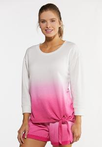 Plus Size Dip Dye French Terry Top