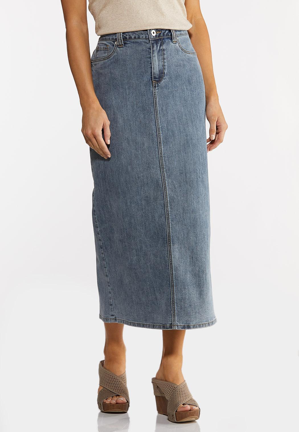 Plus Size Vintage Denim Midi Skirt