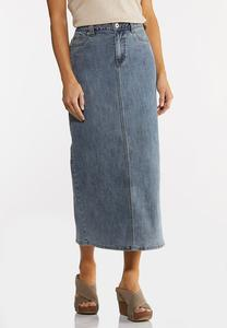 Plus Size Vintage Denim Midi Skirt