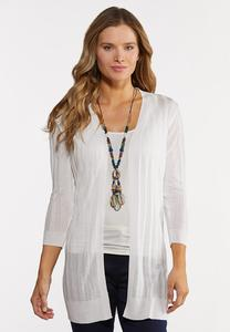 Plus Size Sheer White Cardigan Sweater