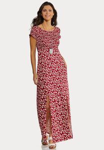 Plus Petite Smocked Floral Maxi Dress