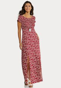 Plus Petite Smocked Floral Maxi Dress