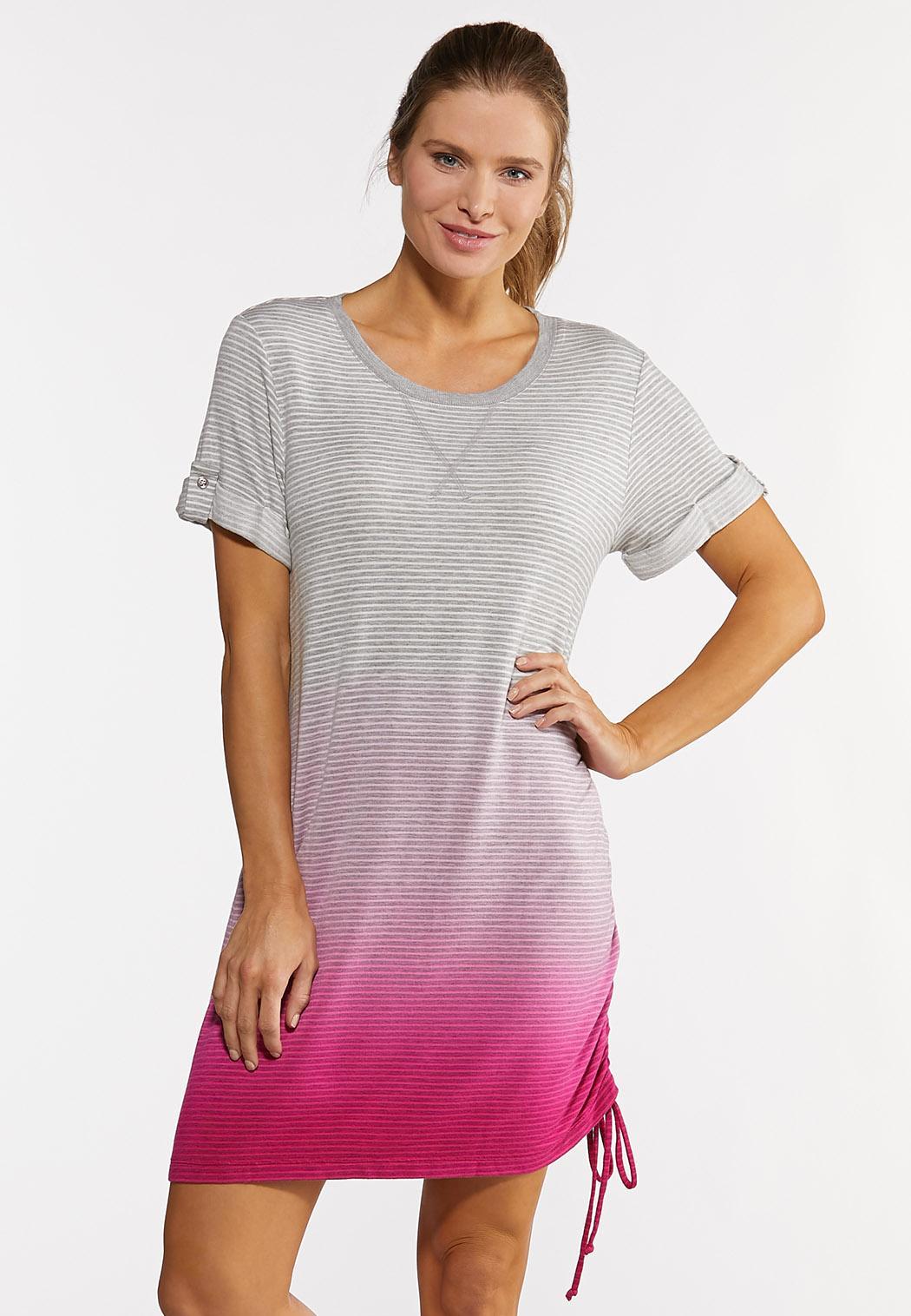 Plus Size Striped Dip Dye Athleisure Dress
