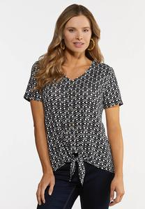 Black And White Tie Hem Top
