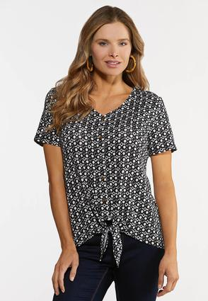 Plus Size Black And White Tie Hem Top