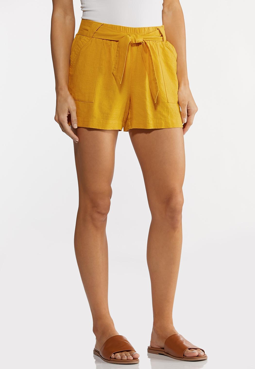 Tie Front Linen Shorts