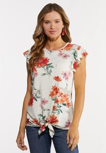 Plus Size Orange Floral Top