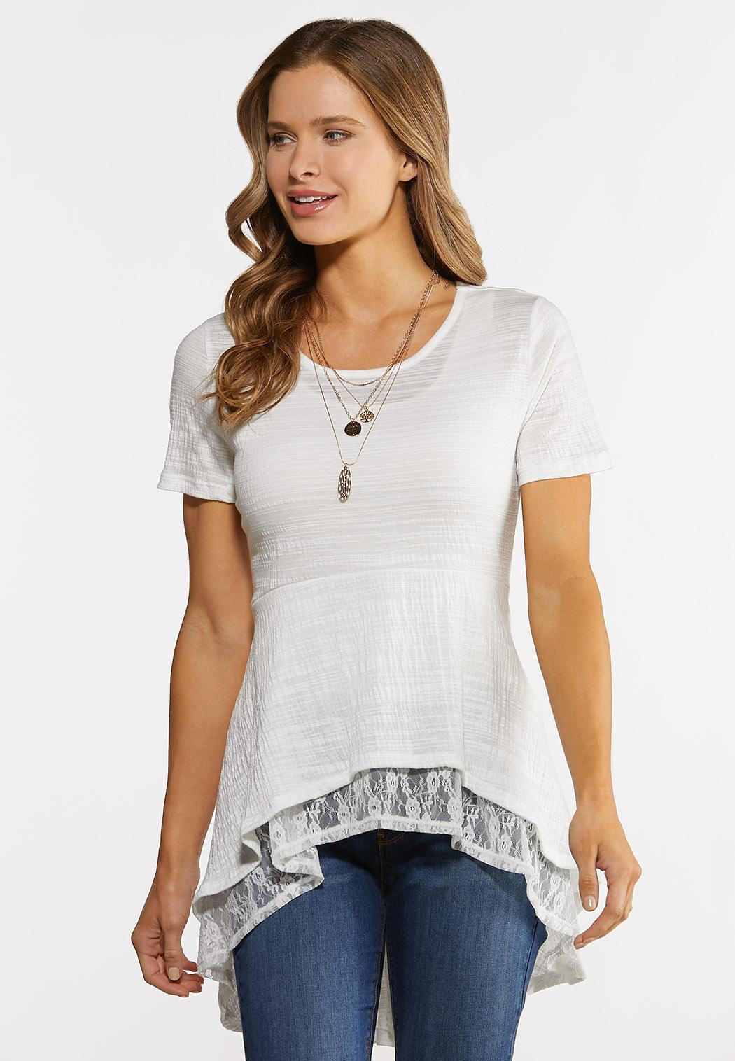 High-Low Lacey Layered Top