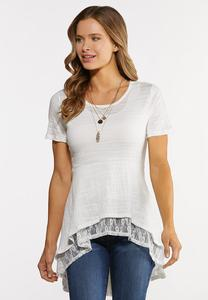 Plus Size High-Low Lacey Layered Top