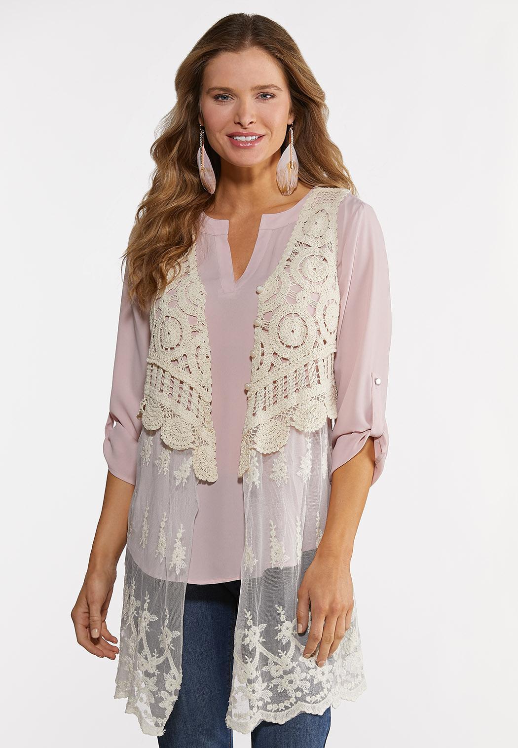 Ivory Crochet Mesh Vest