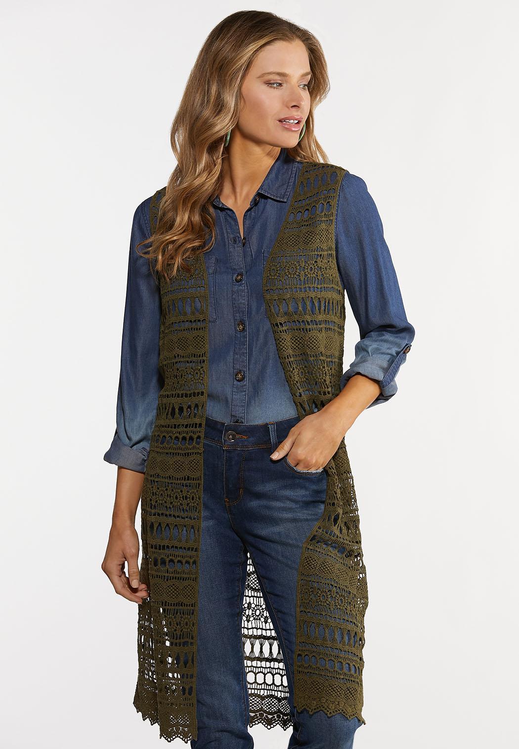 Plus Size Olive Crochet Vest
