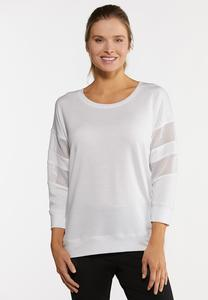 Plus Size Mesh Sleeve Active Top