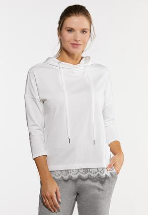 White Lace Trimmed Hoodie