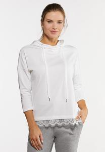 Plus Size White Lace Trimmed Hoodie