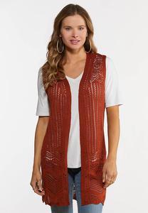 Plus Size Rust Open Stitch Sweater Vest