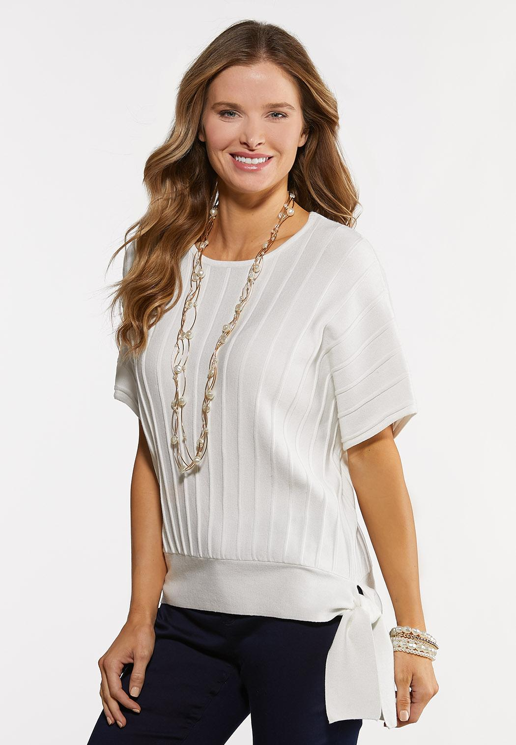 White Ribbed Tie Sweater