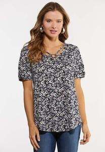 Plus Size Navy Floral Criss Cross Top