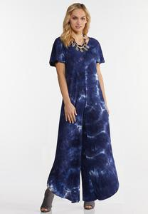 Plus Size Blue Tie Dye Jumpsuit