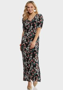Plus Size Spring Blossom Tie Waist Dress