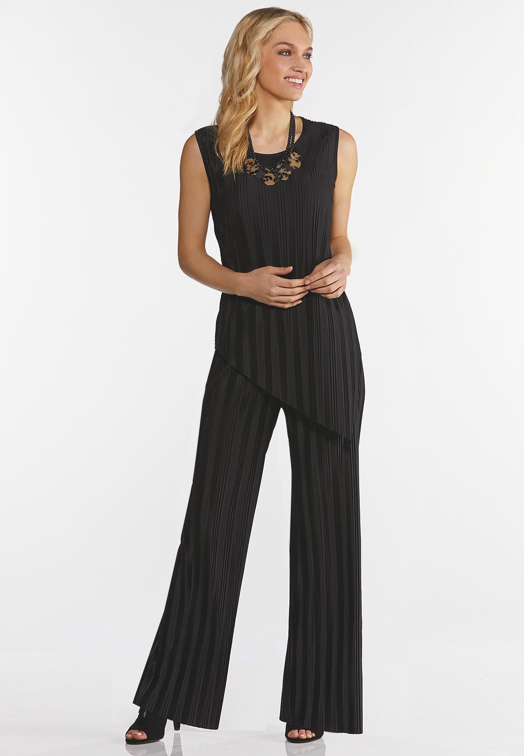 Plus Size Black Pleated Pant Set