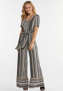 Plus Size Tribal Puff Textured Jumpsuit