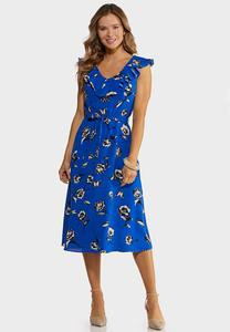 Blue Ruffled Neck Dress