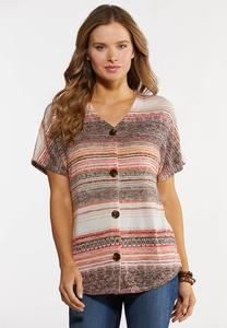 Plus Size Coral Stripe Hacci Top