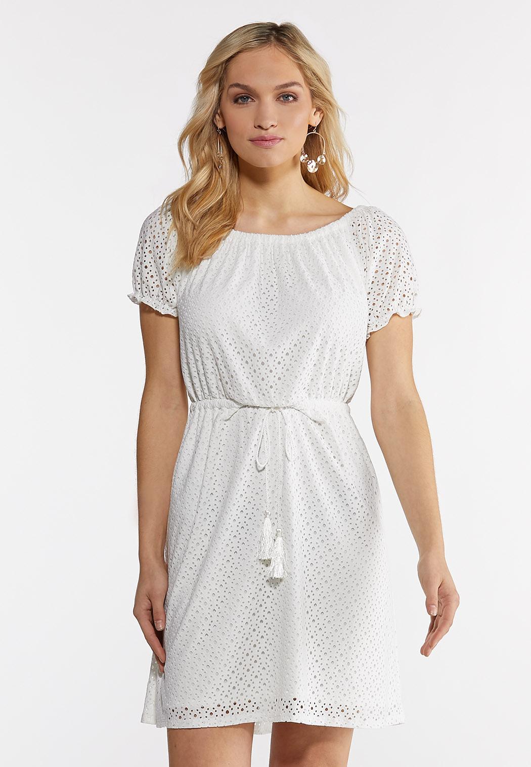 Plus Size Eyelet Tie Waist Dress