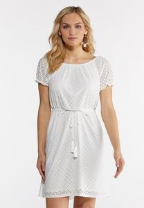 Plus Size Eyelet Tie Waist Dress