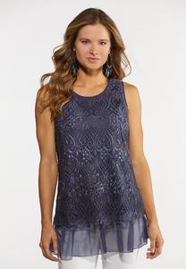 Plus Size Blue Crochet Layered Top