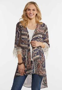 Plus Size Navy Paisley High-Low Kimono