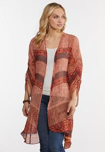 Plus Size Floral Ruched Sleeve Kimono