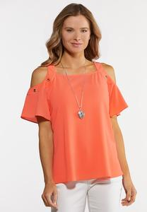 Plus Size Coral Cold Shoulder Top