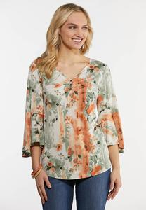 Plus Size Spa Floral Bell Sleeve Dress