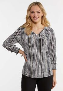 Plus Size Textured Evening Stripe Top