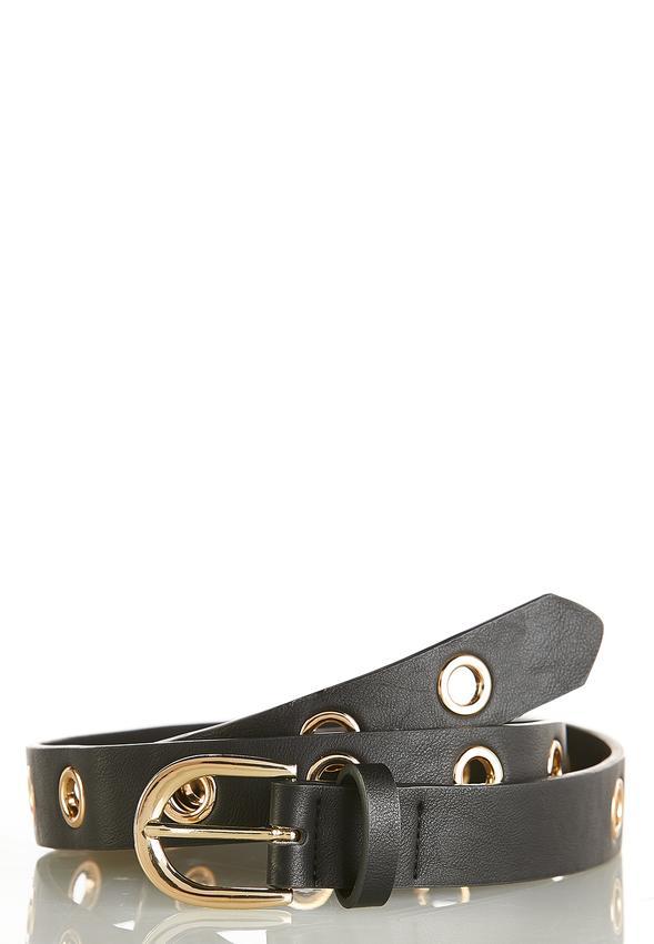 Grommet Faux Leather Belt