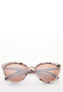 Marbled Mirror Lens Sunglasses